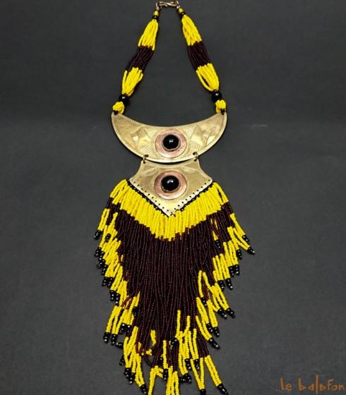 collier ethnique à franges pendentif laiton